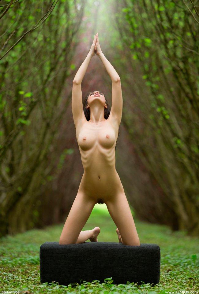 Фото ню грациозной брюнетки в парке смотреть эротику