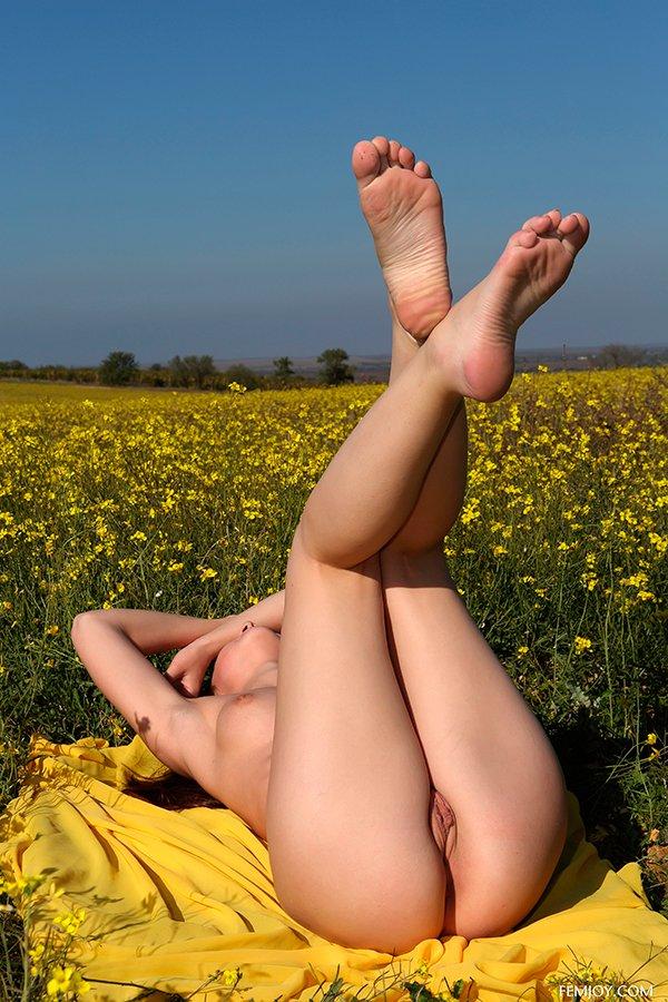 Фото ню - молодая девушка в поле