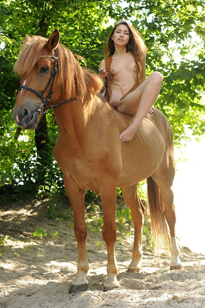 Милая эротика на открытом воздухе - голая сучка на лошади