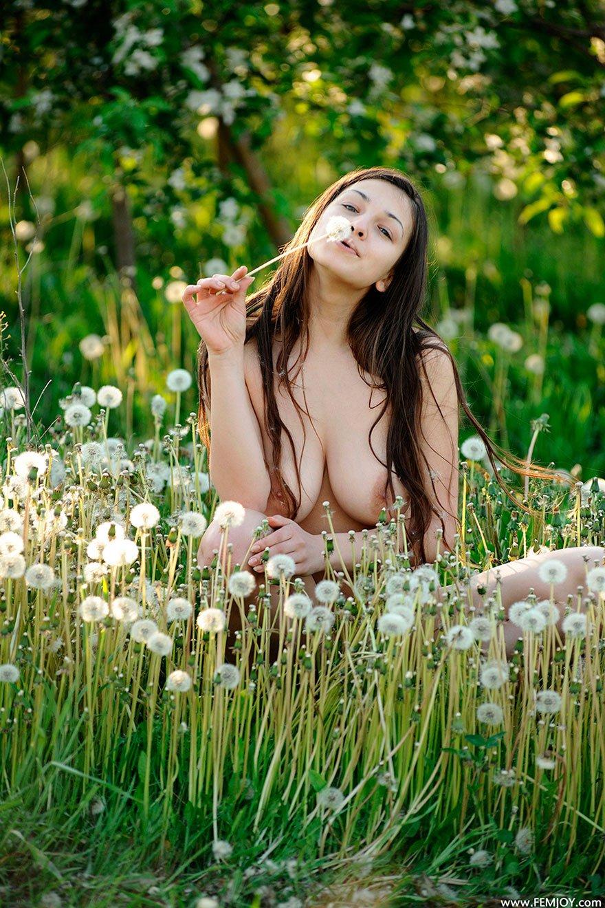 Чика с широкой грудью на природе с одуванчиками - клубничка на открытом воздухе секс фото