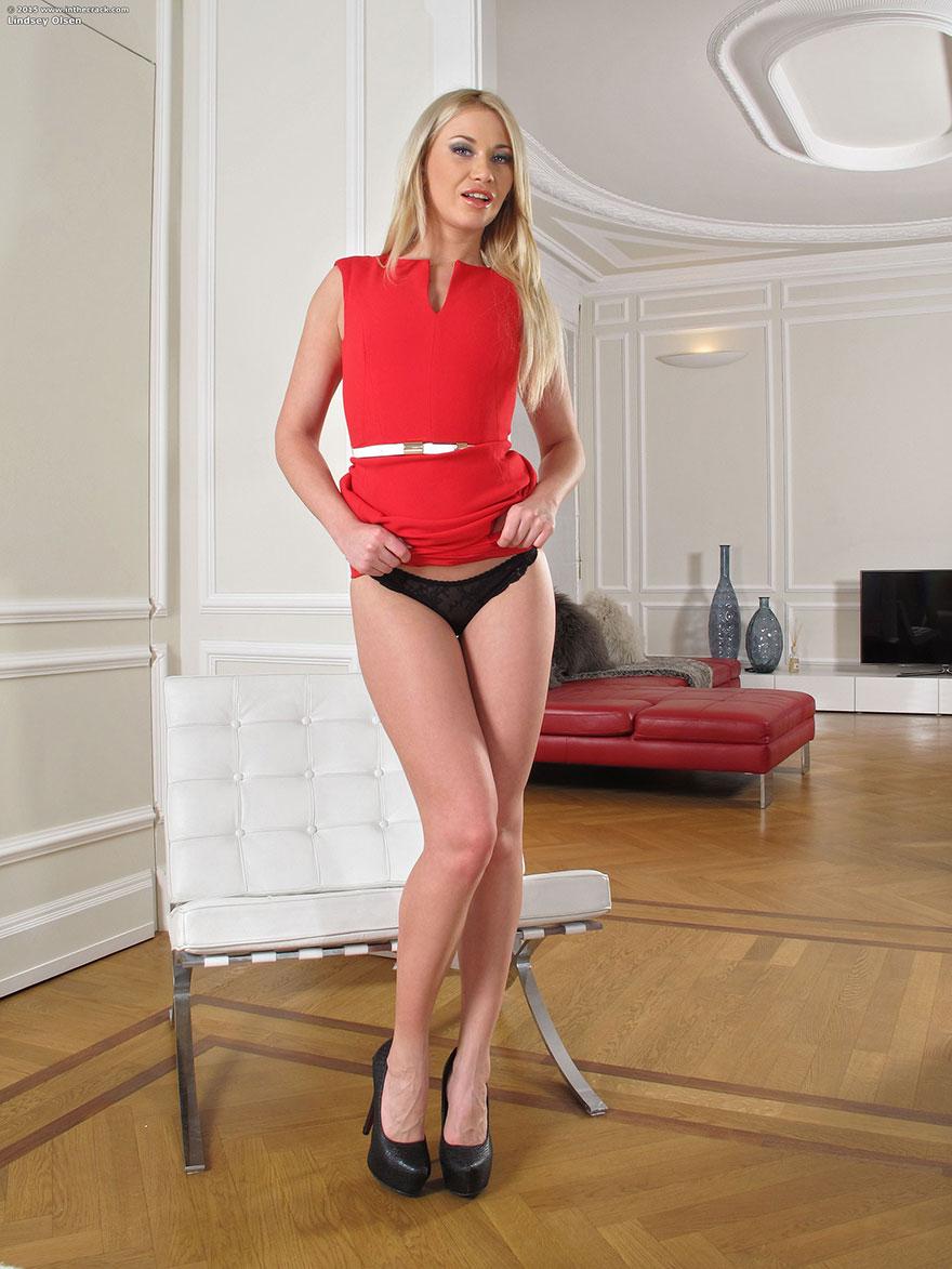 Сексуальная блондинка в красном белье красуется в гостиной секс фото