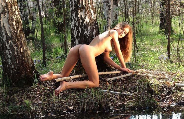 Голая девка в березовом лесу секс фото