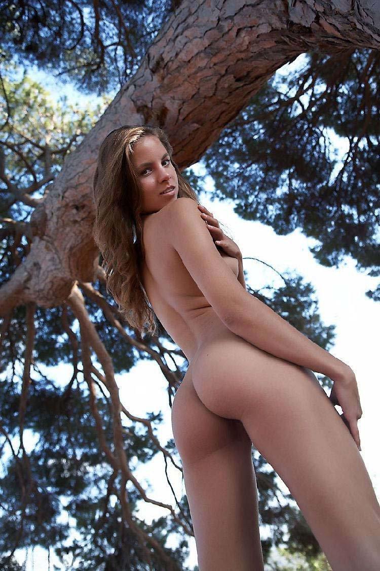 Нагая девка под огромным деревом