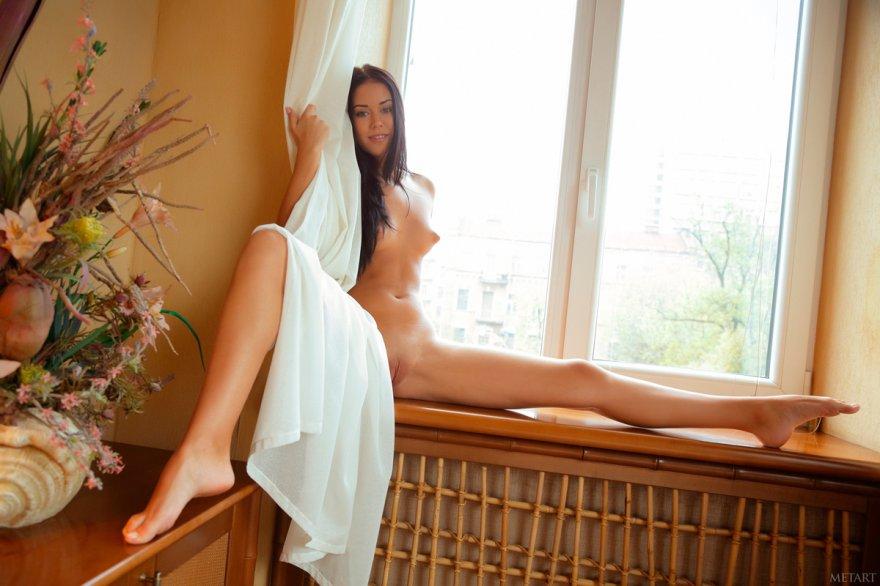 Обнаженная брюнетка в спальне смотреть эротику