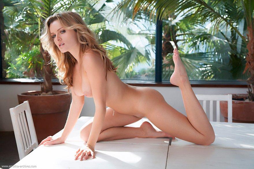 Обнаженная светлая порноактриса на столе эро фото