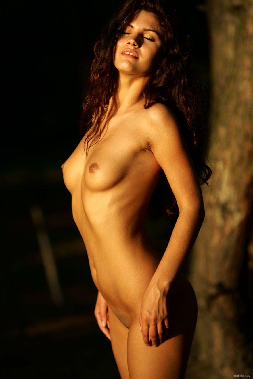 Горячая модель с темными волосами ночью на свежем воздухе секс фото