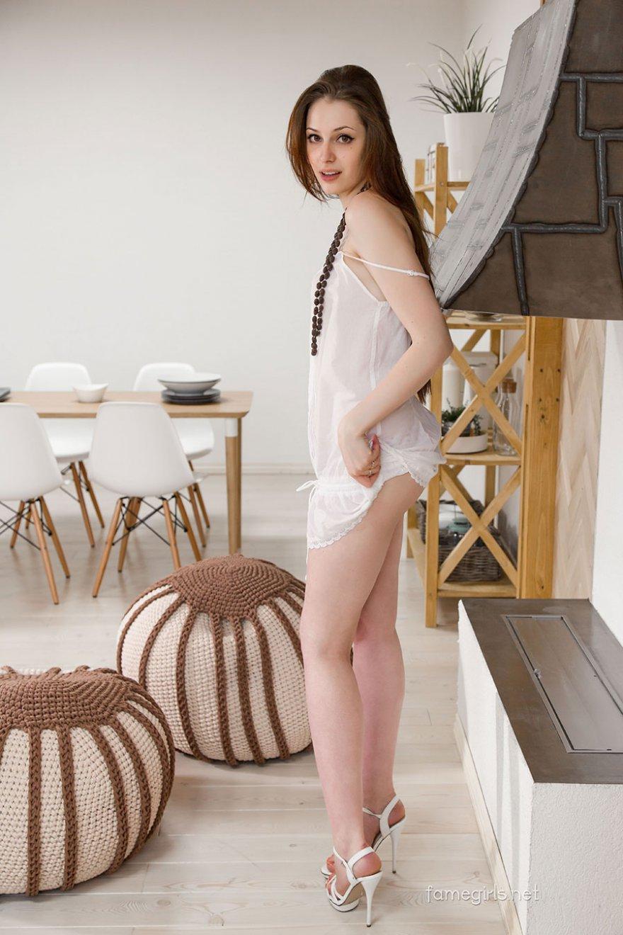 Молодая девушка с длинными ножками и красивой попкой возле камина