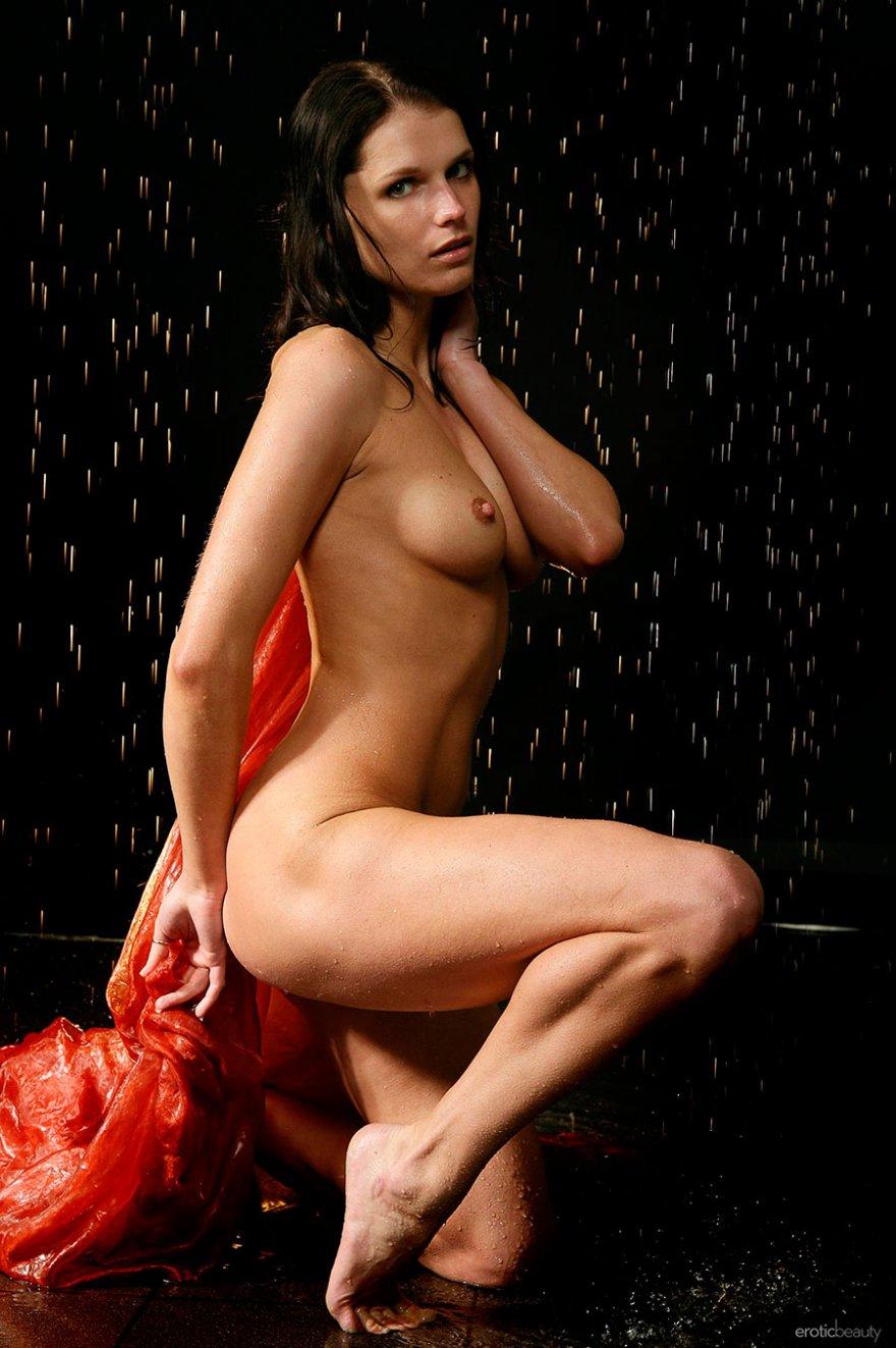 Эротические фото мокрой брюнетки с прекрасными титьками секс фото