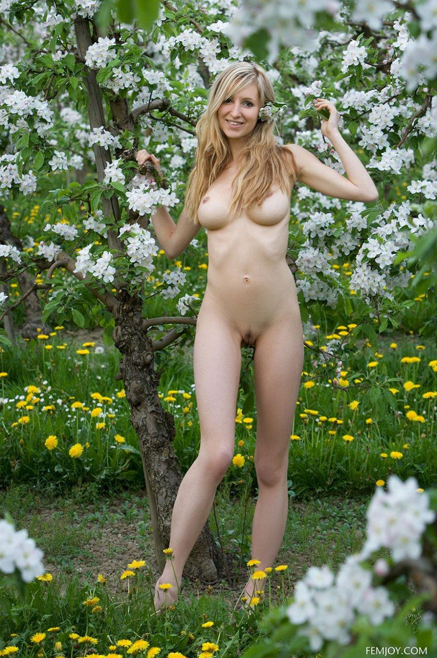 Секс-фото голой блондинки в цветущем парке смотреть эротику