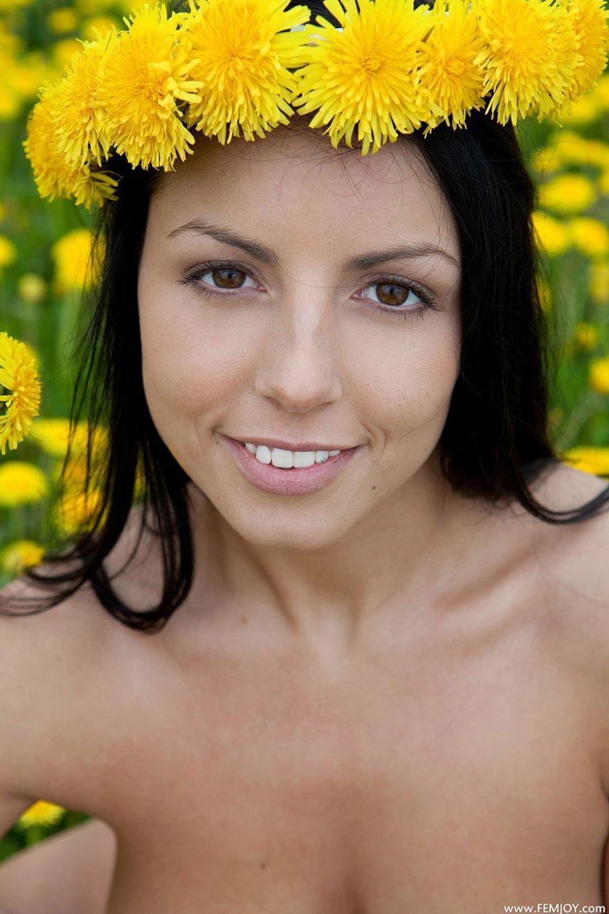 Обнаженная русая порноактрисса среди желтых одуванчиков - секс фото