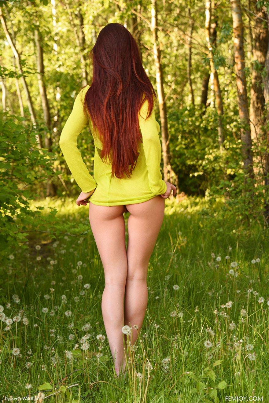 Рыженькая тёлка без трусов прогуливается на полянке