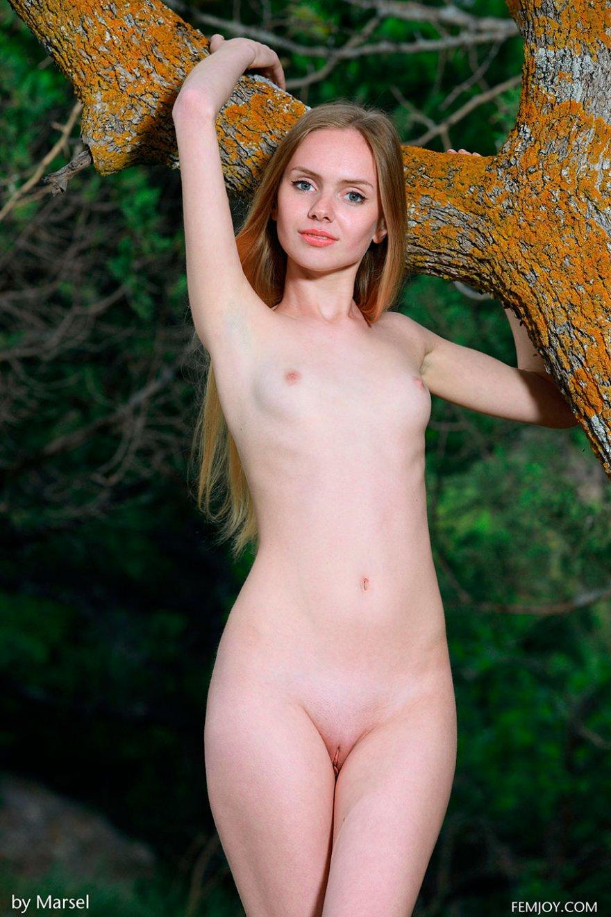 Милая нагая блондинка под деревом