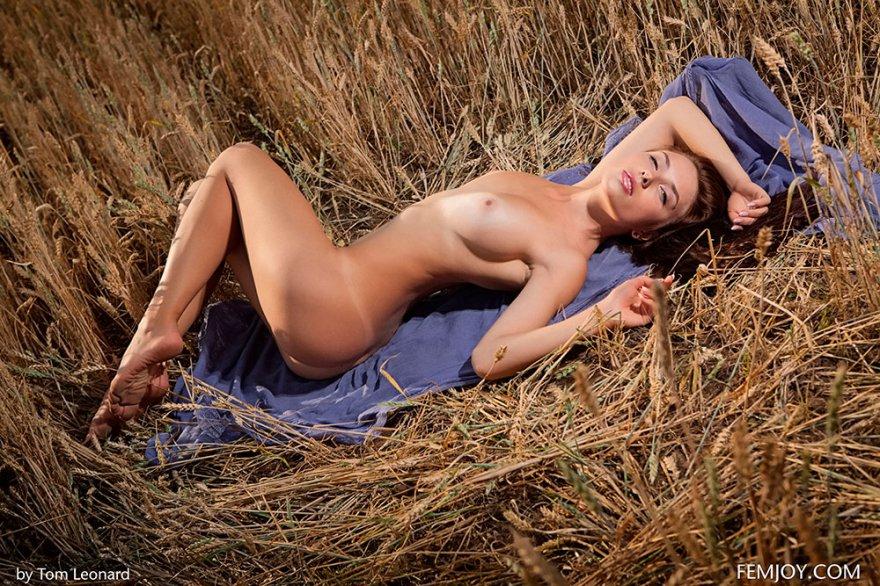 Прекрасная фотомодель с чувственными губами голая в поле