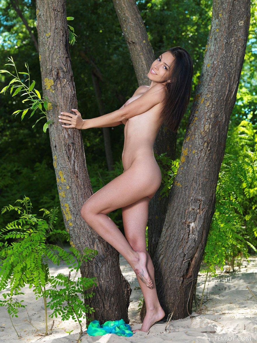 Стройная брюнетка позирует голая под деревом