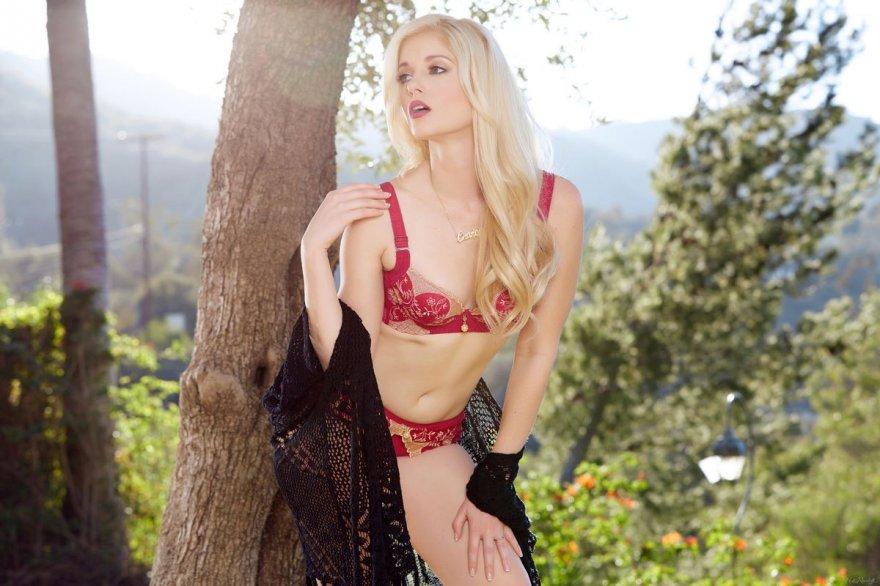 Блондинка в красном белье позирует под деревом смотреть эротику