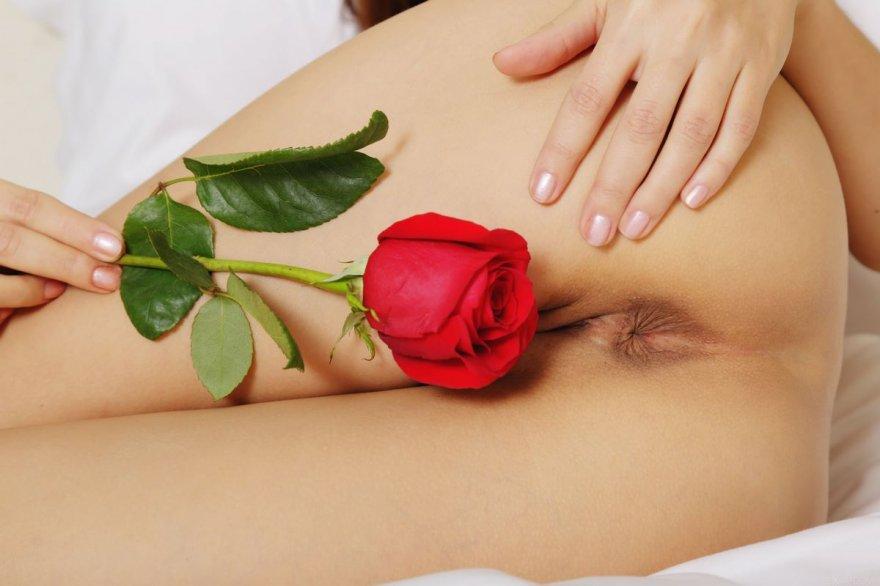 Изящная клубничка телки с красной розой