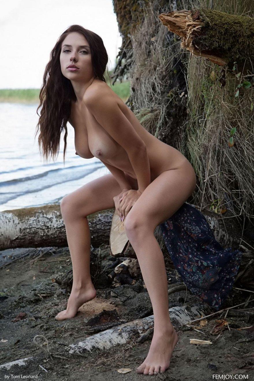 Фото ню красивой брюнетки на берегу