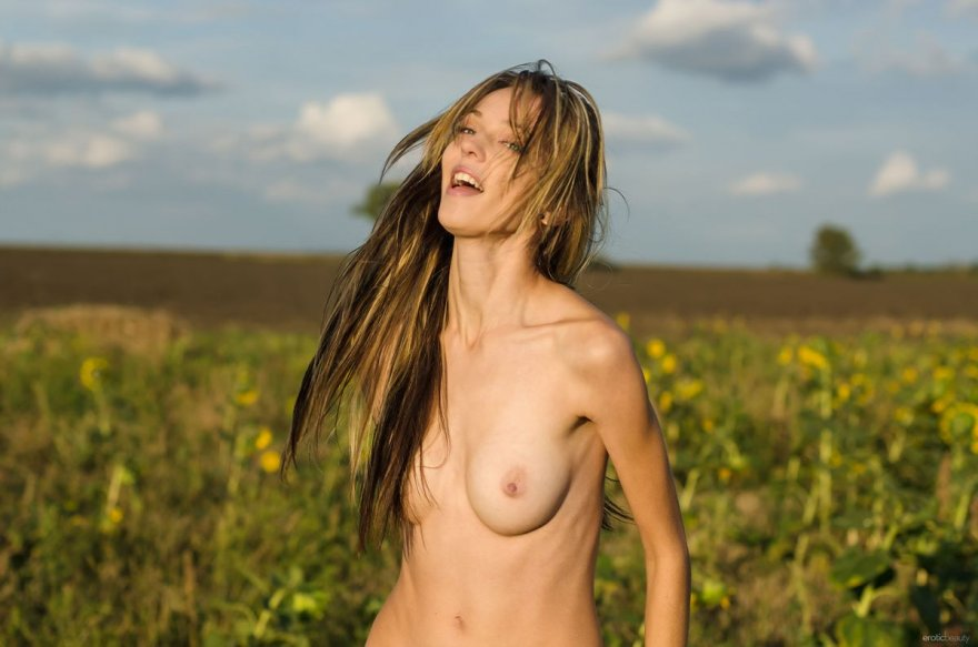 Стройная телка голая на поле подсолнухов смотреть эротику