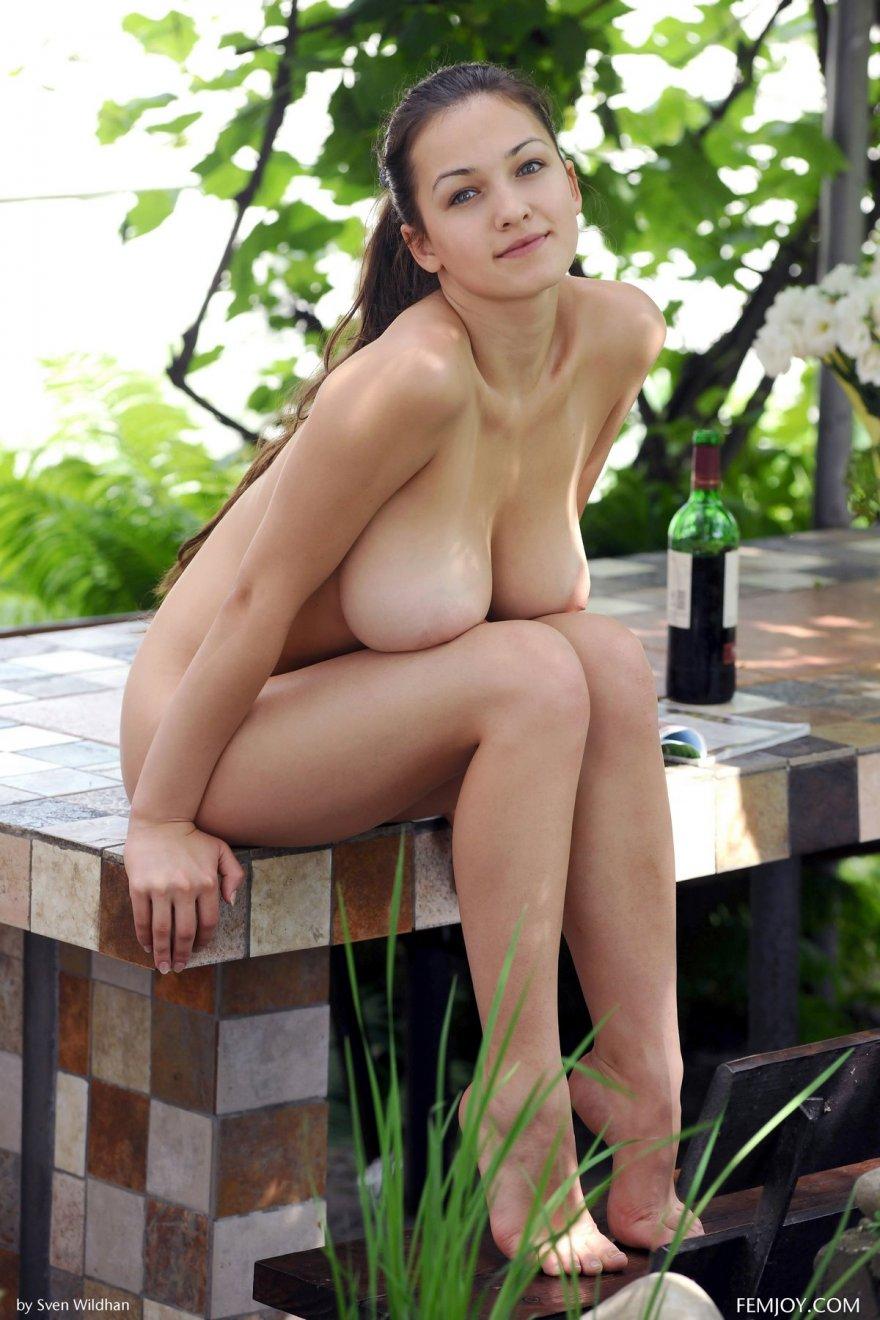 Порнушка яркой брюнетки с естественными грудями в беседке секс фото