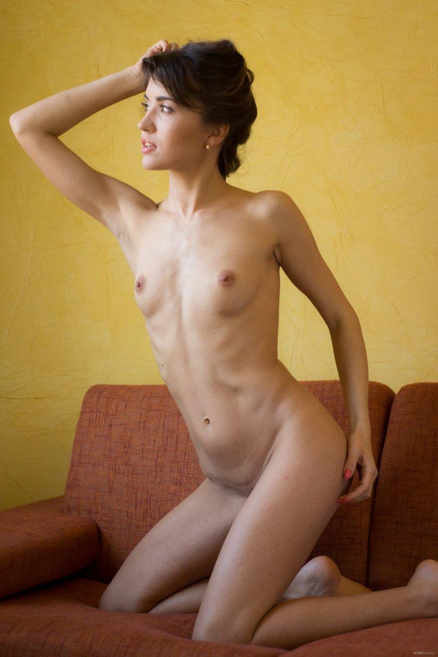 Стройная брюнетка с маленькой грудью голая на диване