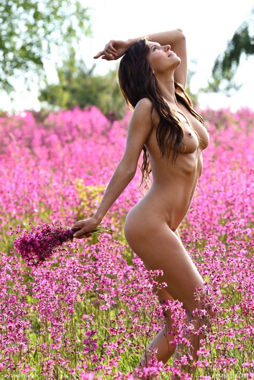 Роскошные секс фото брюнетки среди полевых цветов
