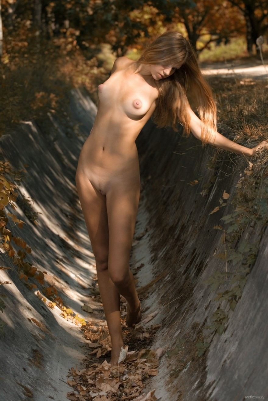 Осенние ню великолепной бабы на поляне секс фото