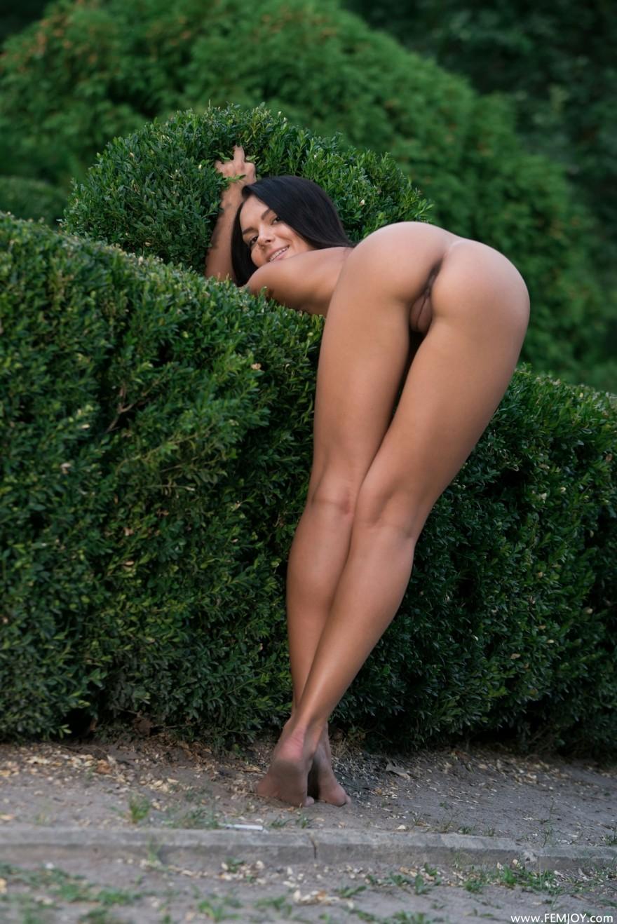 Привлекательная темная модель с темными волосами в парке