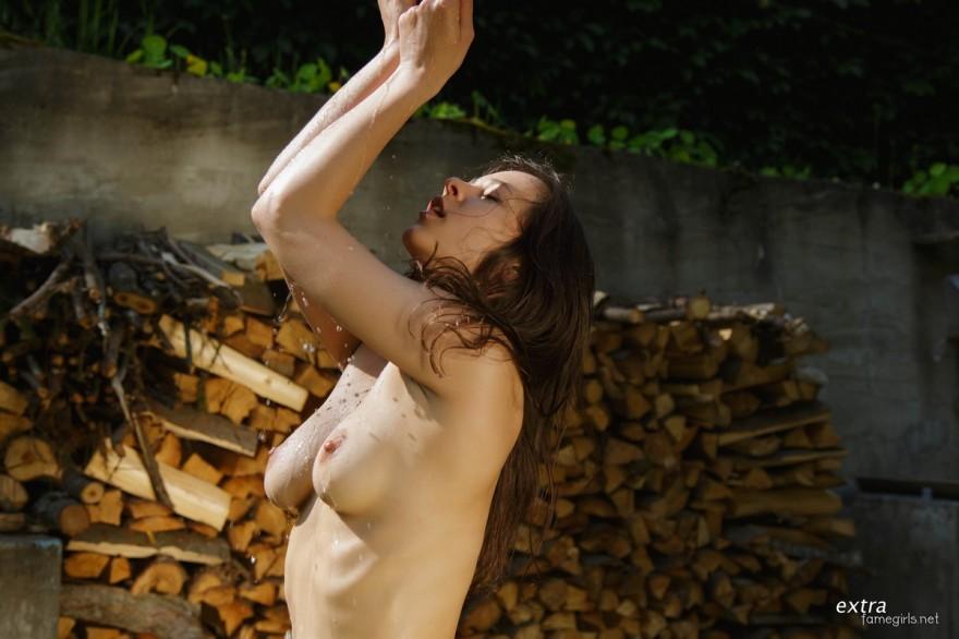Фото ню девушки без трусиков возле сложеных дров