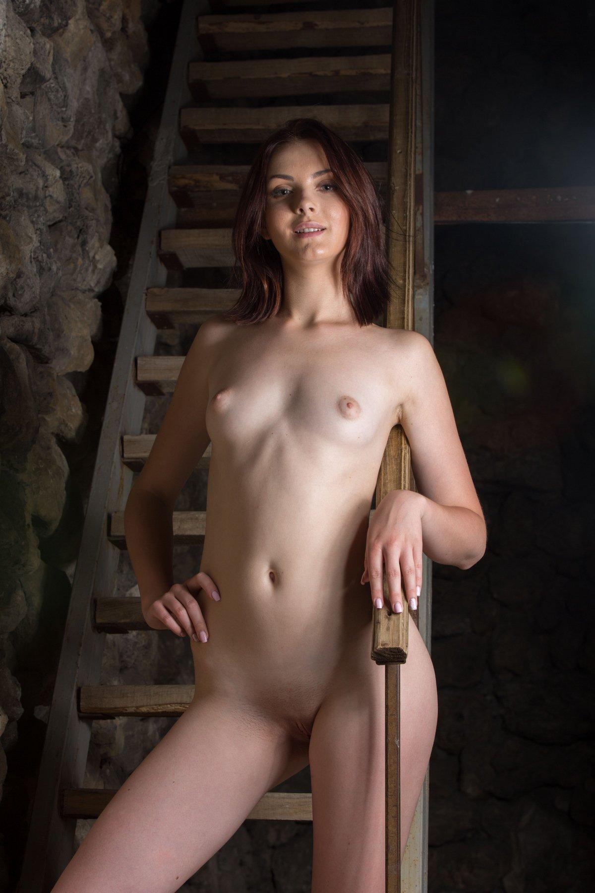 Ню голой девушки возле лестницы