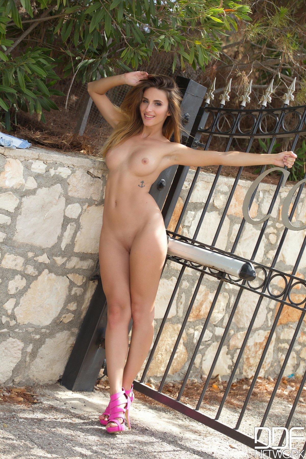 Ню сексуальной девки у ворот секс фото