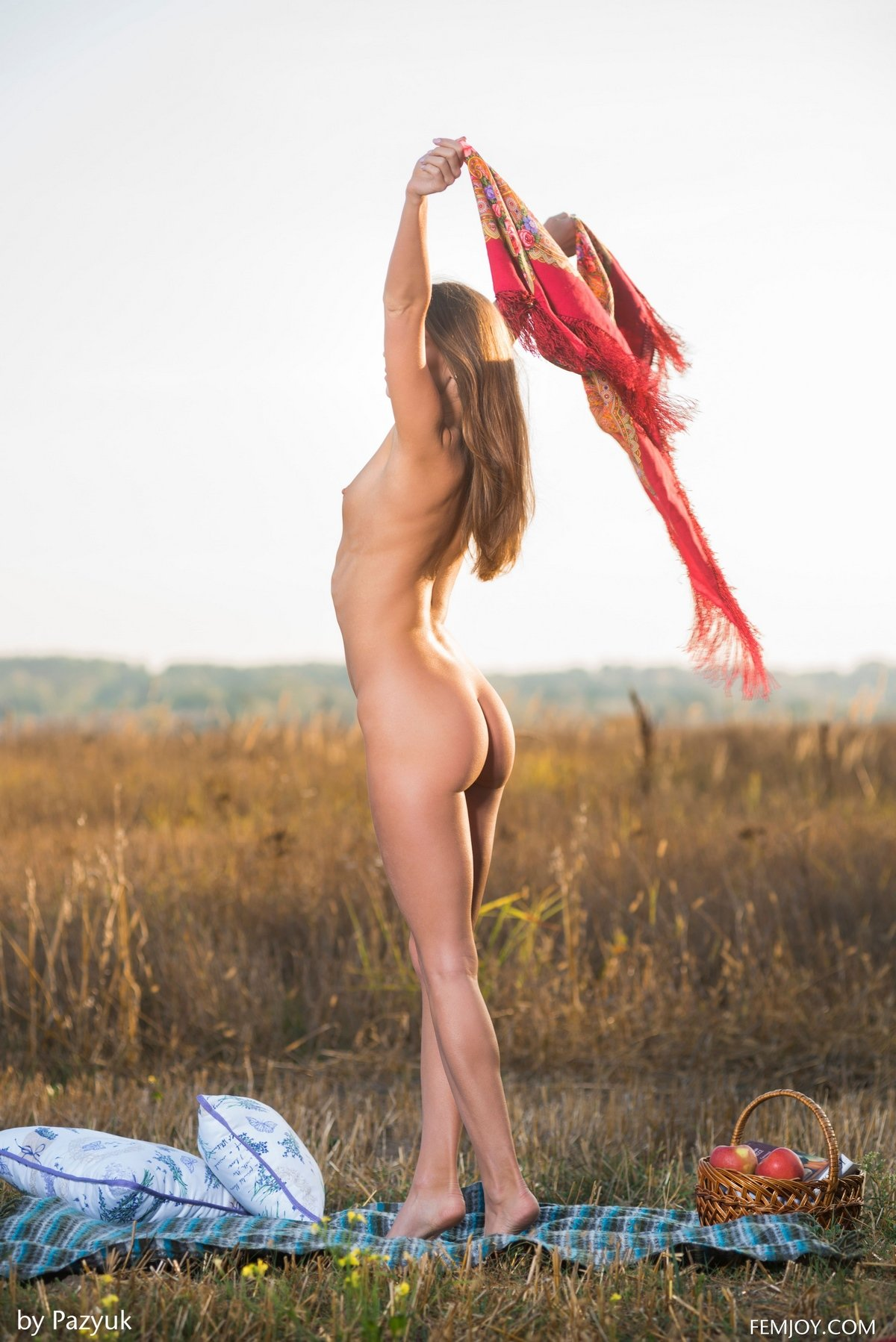 НЮ голой девушки с ярким платком на лугу