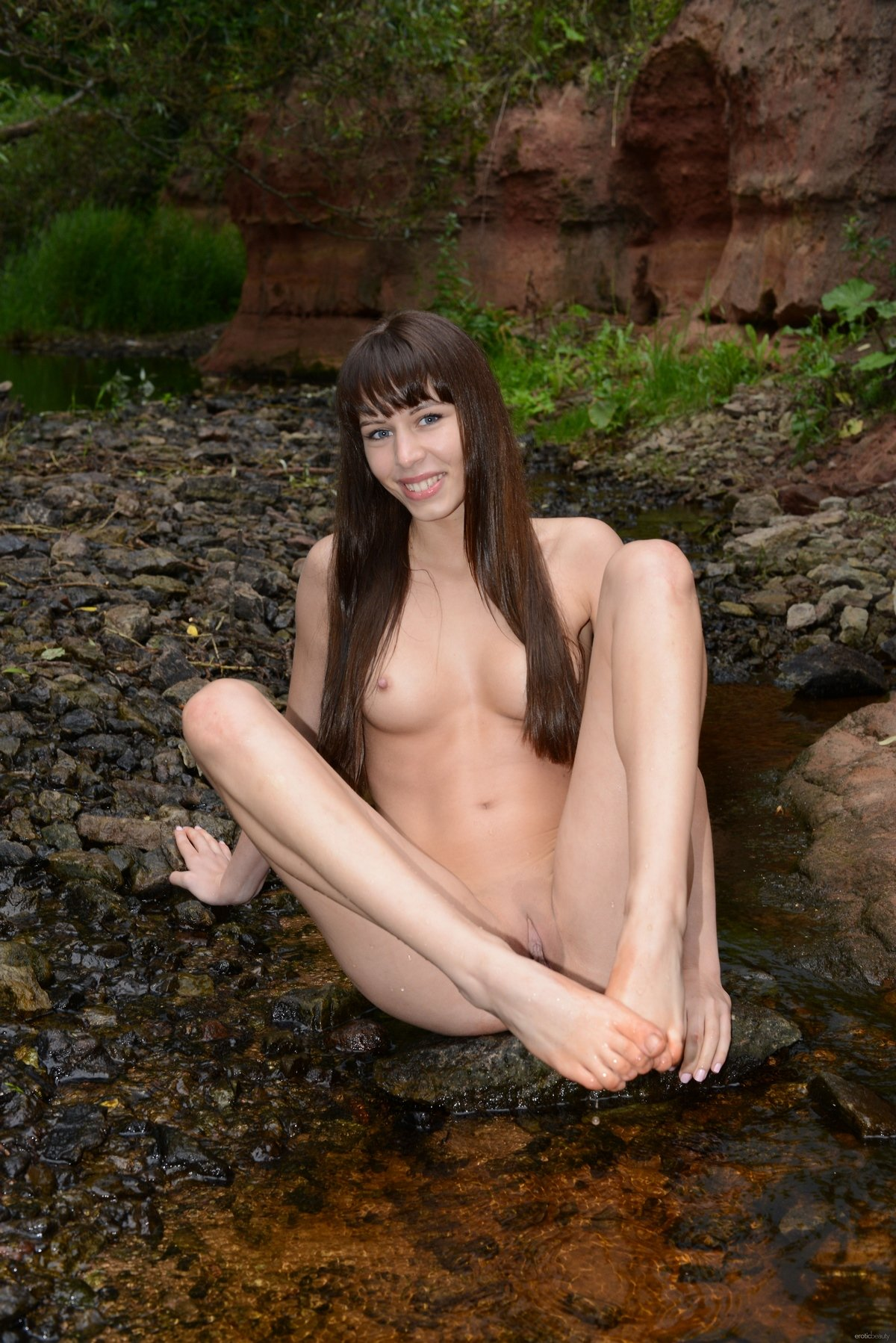 Смуглая леди на поляне у ручья