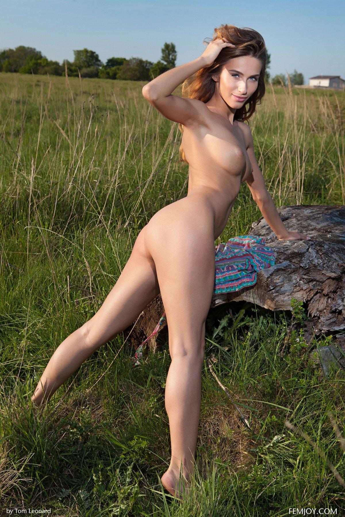 Голая девушка с красивым телом сидит на лугу