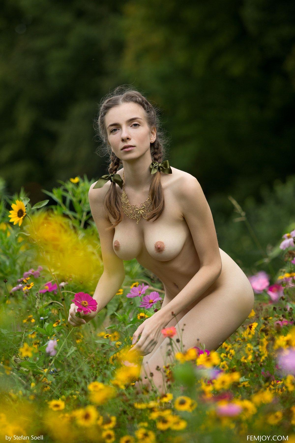Девушка с прекрасной фигурой среди ярких полевых цветов