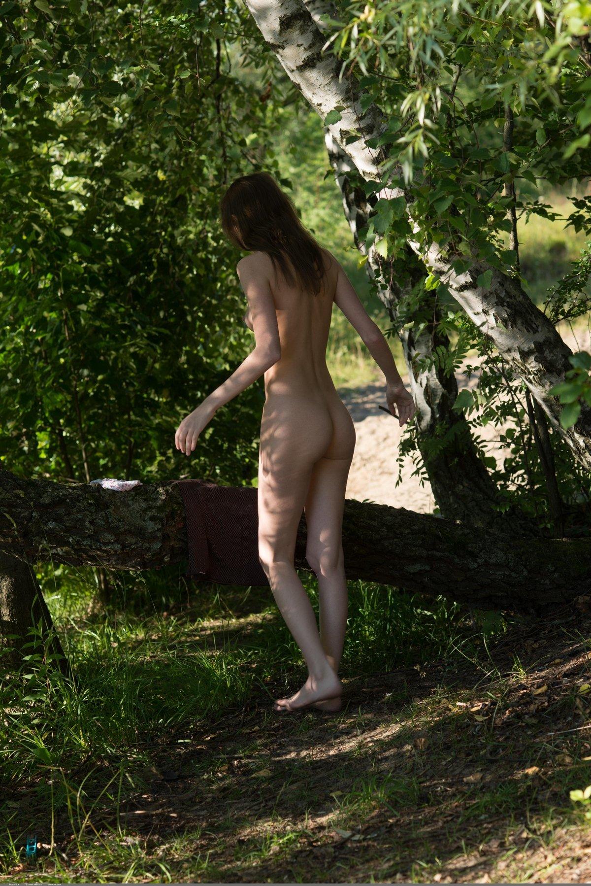 Нагая шалава сидит на дереве