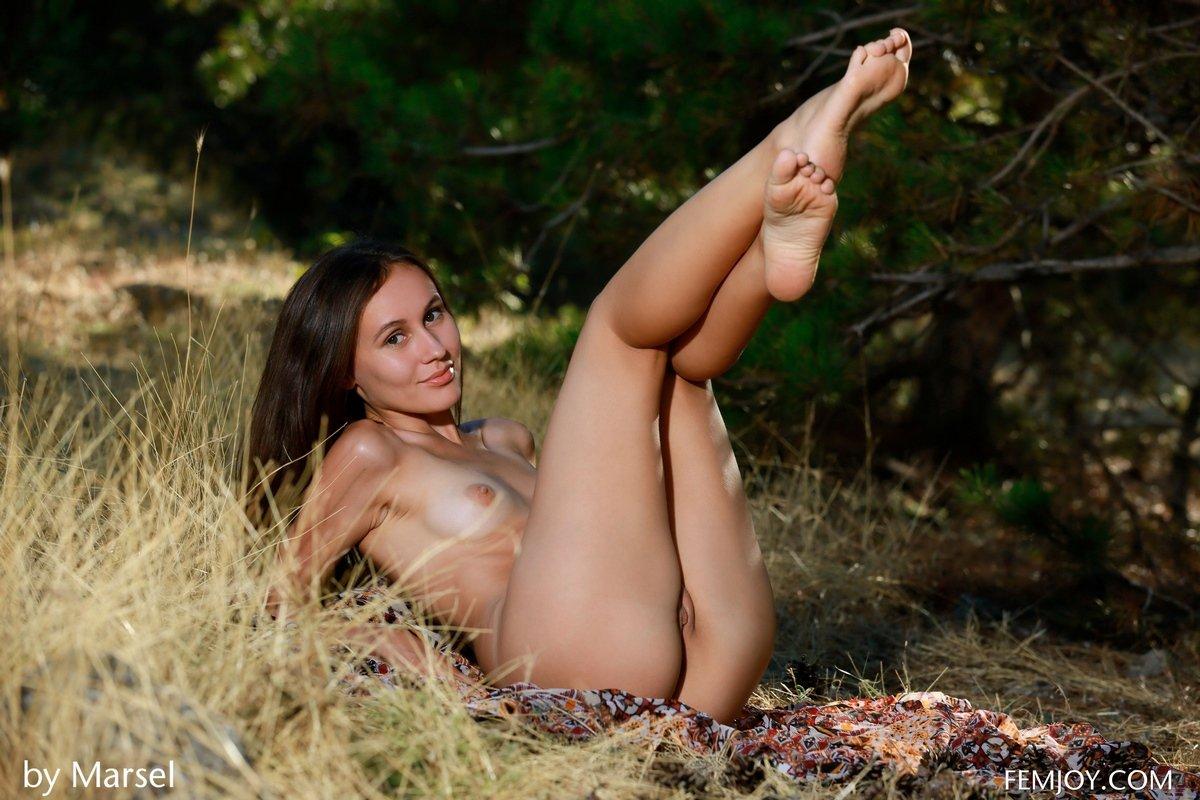 Соблазнительная загорелая девушка ню в лесу