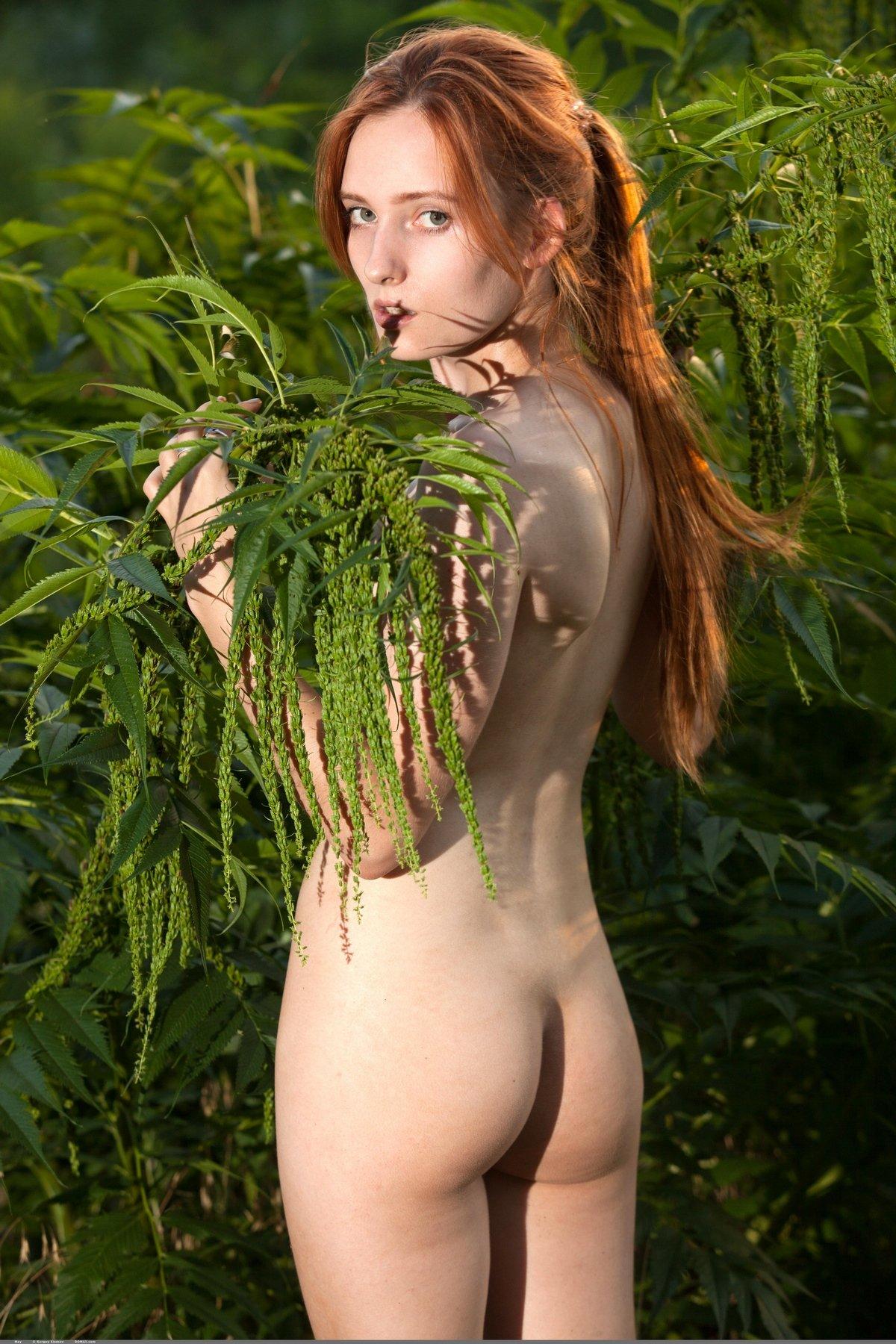 Красивые фото ню обнаженной рыжей девушки на лесной дороге