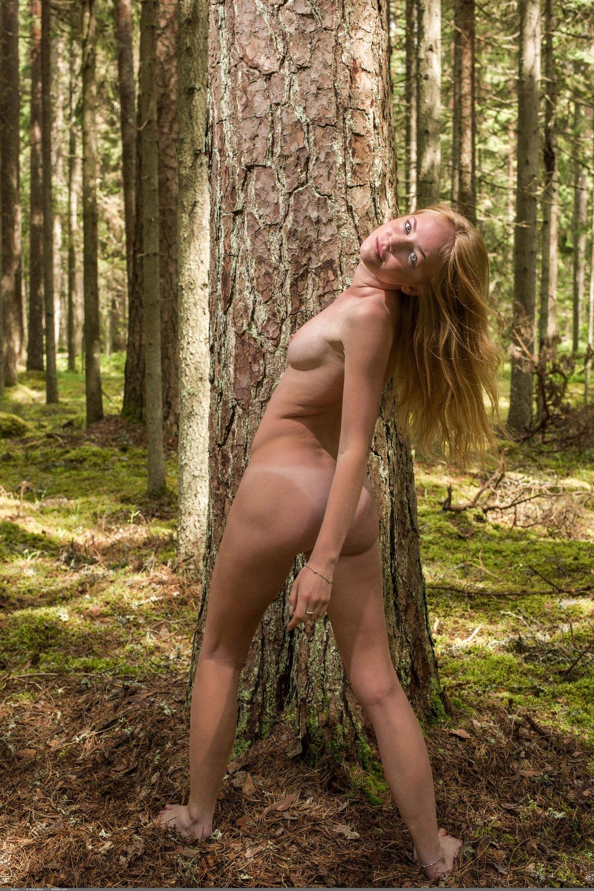 Нежная обнаженная блондинка на природе секс фото