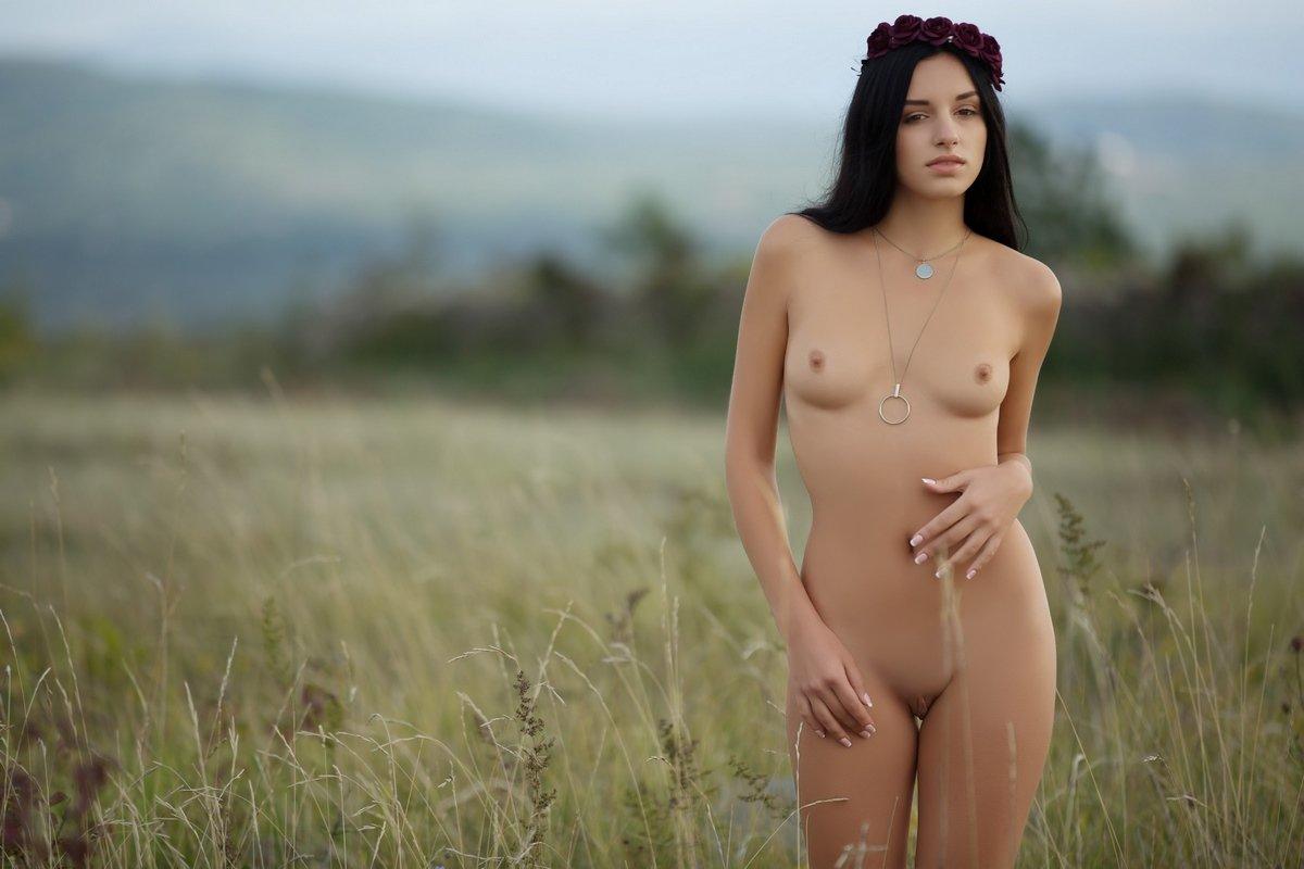 Красивая брюнетка разделась в поле