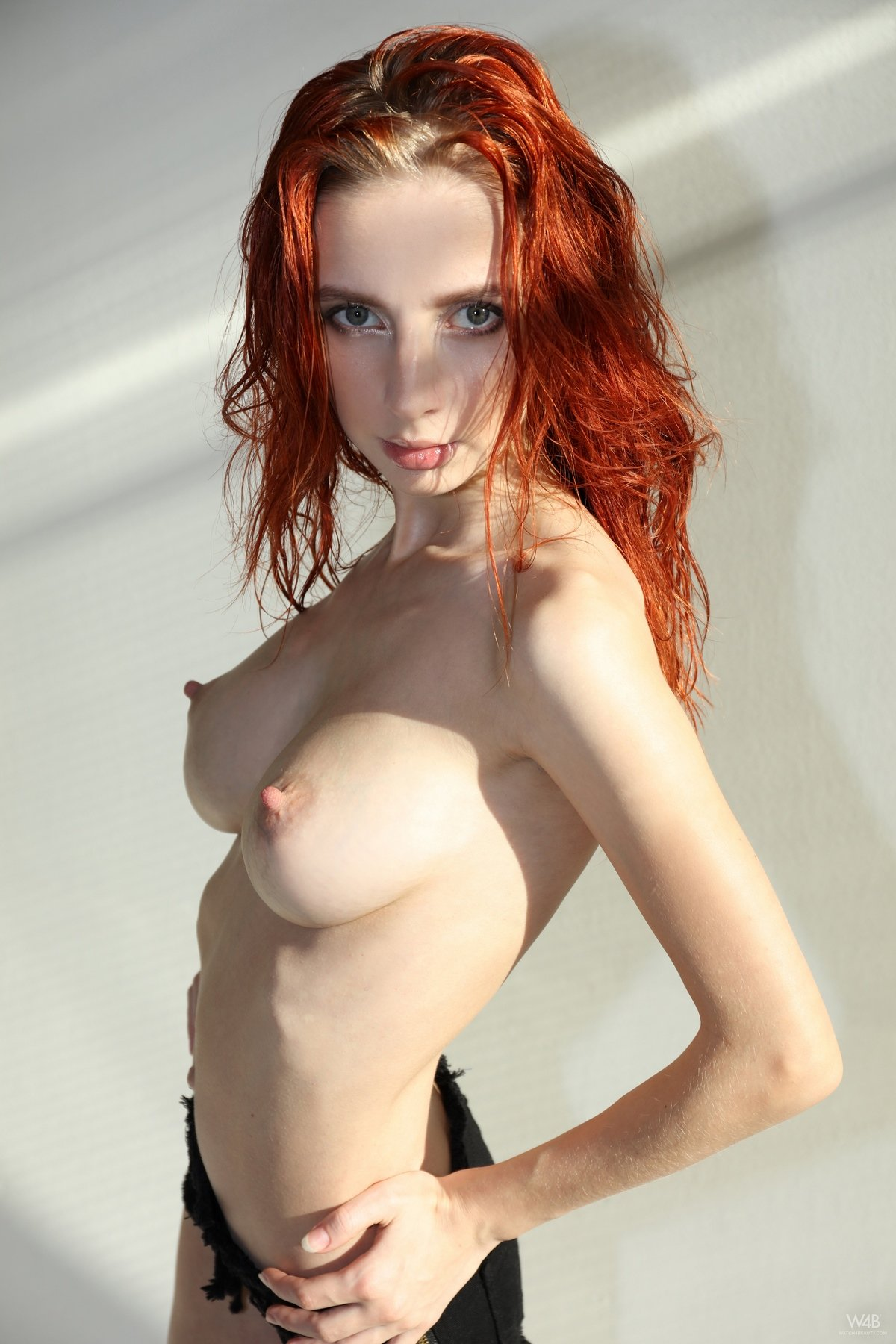 Naked skinny red girl